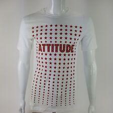 AT Dri Athletech Mens Small ATTITUDE Red White Stars Graphic Tee Shirt NWT