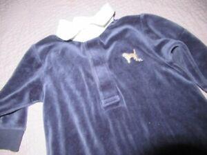 euc Ralph Lauren blue velour dog logo romper baby boys 6 m free ship USA