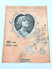 """Vintage """"Thank God For Sending You Back To Me"""" Sheet Music Dated 1918"""