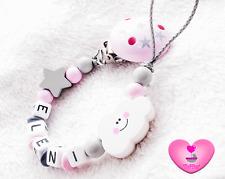 Schnullerkette mit Namen ♥ Baby Mädchen ♥ Wolke ♥ Stern ♥ Babygeschenk rosa