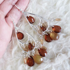 Fashion Womens Coffee Brown Clear Teardrop Bead Dangle Silver-Tone Hook Earrings