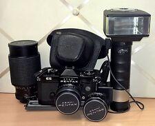 PENTAX ASAHI ES Macchina fotografica + flash METZ 45 CL-1 con obiettivi 80-200