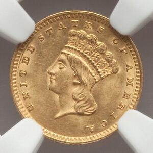 1862 G$1 Type 3 Gold Dollar NGC MS62