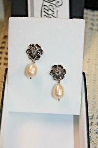 Montana Silversmiths Earrings Sterling Lane~ Flower & FW Pearl   MSR $80.