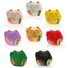 SET of 8 Japanese Maneki Neko Lucky Cat Figurine Brings Good Luck Made in Japan