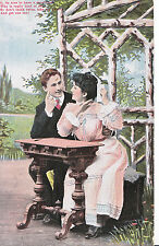 Romance Postcard - Young Man and Young Lady Sitting at Table   XX674