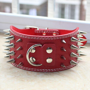 3 inch Leather Large Breed 4 Rows Spiked Studded Dog Collar for Pit Bull Terrier