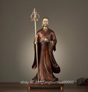 Brass Copper Black Walnut Wood Ksitigarbha King Jizo Boddhisattva Buddha Statue
