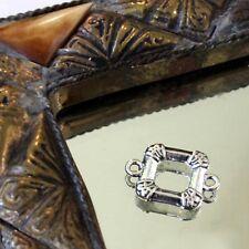 "2 Perles Métal Estampes Intercalaires QUADRA  ""Argenté""    17/25 mm"