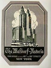 Vintage Waldorf-Astoria Hotel Luggage Label Park Ave New York