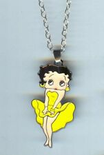 BETTY BOOP, Yellow Dress, Charm, Pendant & .925 Necklace - R74
