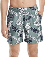 NEW BLOOMINGDALES GREEN W BLUE WHITE FLORAL BATHING SUIT SWIM TRUNKS SIZE M