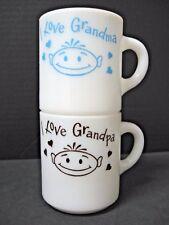 LOT 2 vintage I LOVE grandma grandpa HAPPY smiling CHILD face MILK GLASS mugs