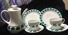 Mid Century Modern THOMAS GERMANY  White Green COFFEE TEA POT w/ cups & saucers