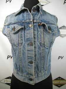 G1718 VTG Women Levi's Orange Tag Denim Jean Vest