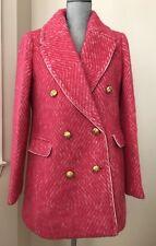 New J.Crew Pink Sorbet Diamond Tweed Coat Jacket #F5430 size 12 J Crew