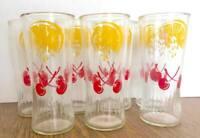Vintage Mid Century Anchor Hocking Cherry Lemonade Glass Tumblers Lot of 7