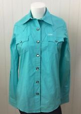 NWOT Cruel Girl Womens S Turquoise Shirt Western Horse Show Rodeo Pearl Snap