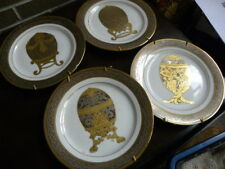 Murifield Faberge Decorative Collector's Plate SET OF 4 Egg Centers, Gold Trim