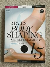 RRP £6 M&S 2 Pairs LARGE Body Shaping Secret Slimming 15 Den Tights BLACK Shine