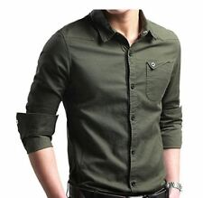 LOCALMODE Men's Military Slim Fit Dress Shirt Casual Long Sleeve, Army Green XL