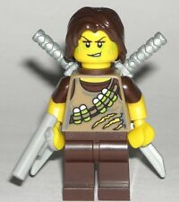 LEGO ZOMBIE HUNTER MINIFIGURE Huntress Girl w/ Dual Katana Swords/Scabbard/Gun