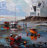 Beau Format JP DOUCHEZ Tableau Peinture huile sur toile au couteau art Bretagne