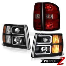 2007-2013 Silverado Inky Black Projector Headlamps Red Smoke Rear Brake Lights