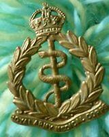 RAMC Royal Army Medical Corps COLLAR Badge KC All Brass ANTIQUE Original