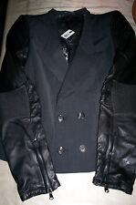 "NWT! $1160 Diesel Women's ""GASBY""  Leather/ wool blazer jacket-charcoal- eu 40"