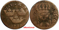 "Sweden Copper 1719 1 Ore, K.M. Overstruck on 1718 1 Daler SM ""MARS"" KM# 364.2"