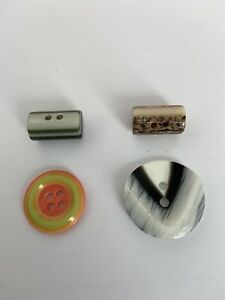 4 VINTAGE LEA STEIN BUTTONS - LAYERED MULTI-COLURED PLASSTIC