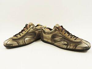 Prada Black Men's Shoes Gold Bronzed UK 10 US 11 EU 44 trainers sneakers Italy