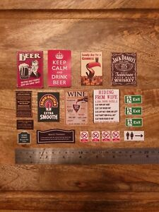 12th Dolls House Pub Bar Wall Signs1:12 Scale Wine Beer Personalised Dollhouse