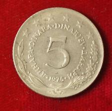 Münze Coin Jugoslawien Jugoslavija 5 Dinar Dinara 1975 (G4)
