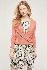 NEW ANTHROPOLOGIE Wrap Front Cardigan Sweater L Large by Moth Coral