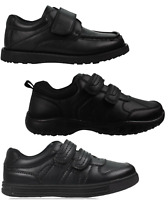 Boys Black School Shoes PU Leather Hook & Loop Dress Formal Easy On UK Size 10-5