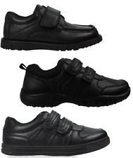 Boys Black School Shoes PU Leather Hook & Loop Dress Formal Easy On UK Size 10-5
