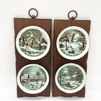 VTG Currier & Ives Homestead In Winter Collector Plates on Wood Plaques Enesco