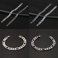 Stainless Steel Wristband Bracelet Men Women Chain Link Bangle Charm Jewelry