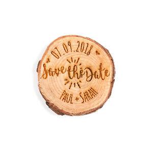 Engraved personalised log slice Save the Date, rustic wedding invitation, laser