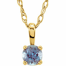 """Chatham® Created Alexandrite """"June"""" Birthstone 14"""" Necklace In 14K Yellow Gold"""