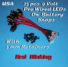 25 PRE WIRED 5MM LEDs 9 VOLT RED BLINKING LED ON BATTERY SNAP 9V PREWIRED