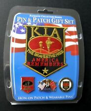 KIA KILLED IN ACTION MEMORIAL LAPEL PIN AND PATCH GIFT SET NEW