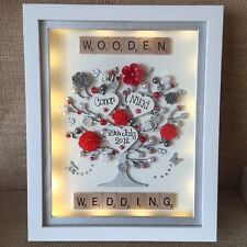 LED LIGHTS DEEP BOX FRAME WEDDING ANNIVERSARY WOOD 5 Years 10 25 50 60th Gift