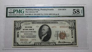 $10 1929 Hollidaysburg Pennsylvania PA National Currency Bank Note Bill Ch. 6874