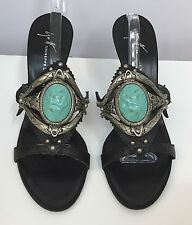 GIUSEPPE ZANOTTI SANDALS SHOES BLACK LEATHER SILVER METAL LARGE TURQUOISE 36