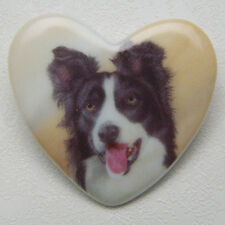 Border Collie Ceramic Heart Pin Brooch Dog Breed sale! New In Pkg Gift