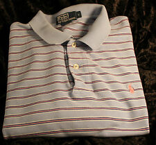 Classic Ralph Lauren polo, L, Light blue with pink/white/navy stripe