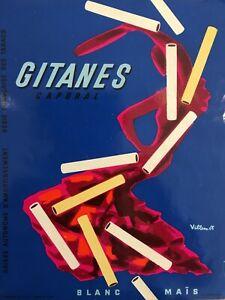 Original Vintage 1955 French Poster Advertising Gitanes Cigarettes by Villemot